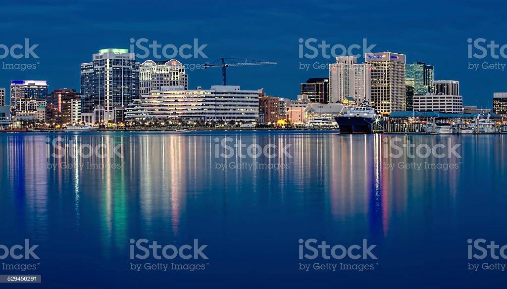Norfolk, Virginia waterfront city lights and reflections at Christmas stock photo