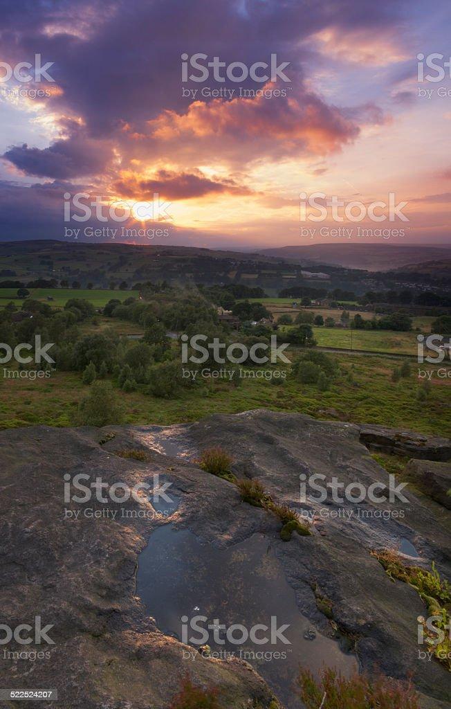 Norland moor sunset stock photo