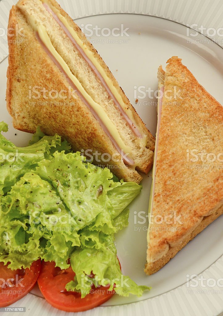 normal ham & cheese sandwich stock photo
