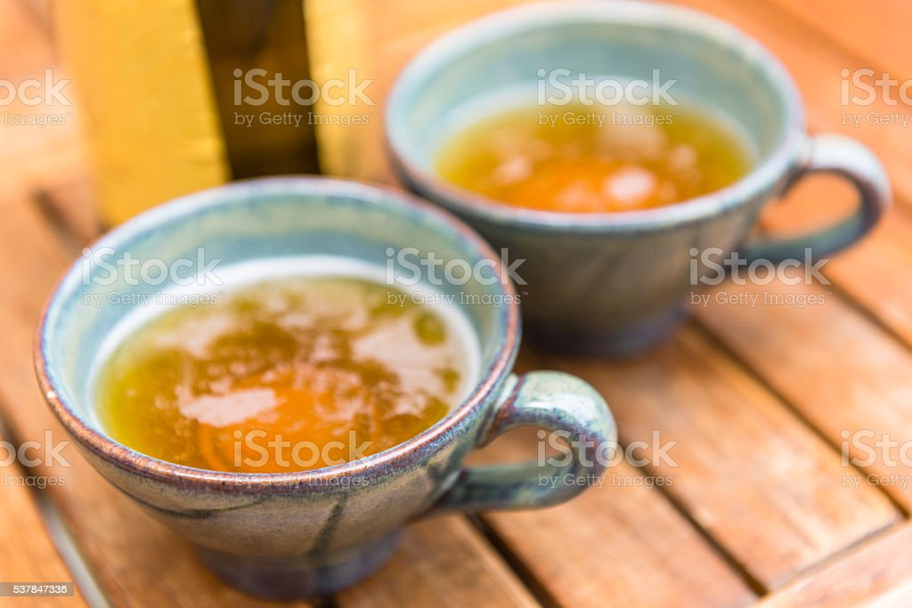 Norman apple cider in a typical ceramic cups stock photo