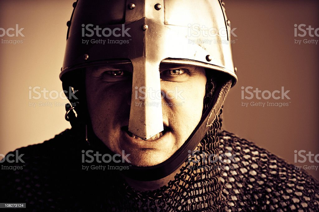 Norman Knight Helmet and Chain mail armour stock photo