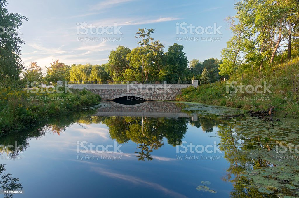 Normandale Lake Park and Bridge stock photo