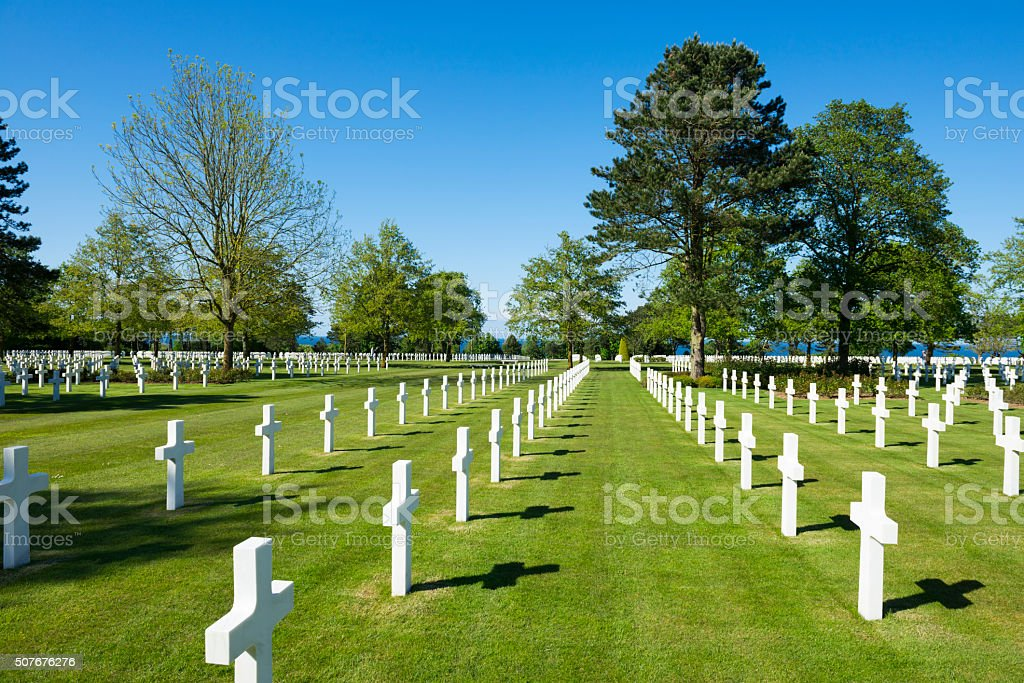 Normandy American Cemetery and Memorial in Colleville-sur-Mer stock photo