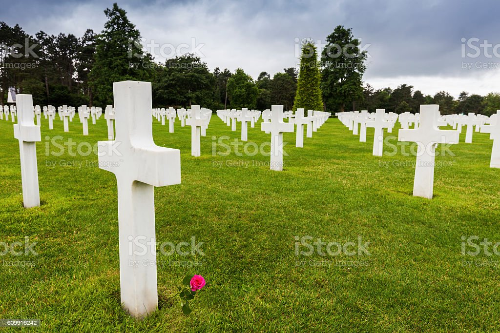 Normandy American Cemetery and Memorial in Saint Laurent sur Mer stock photo