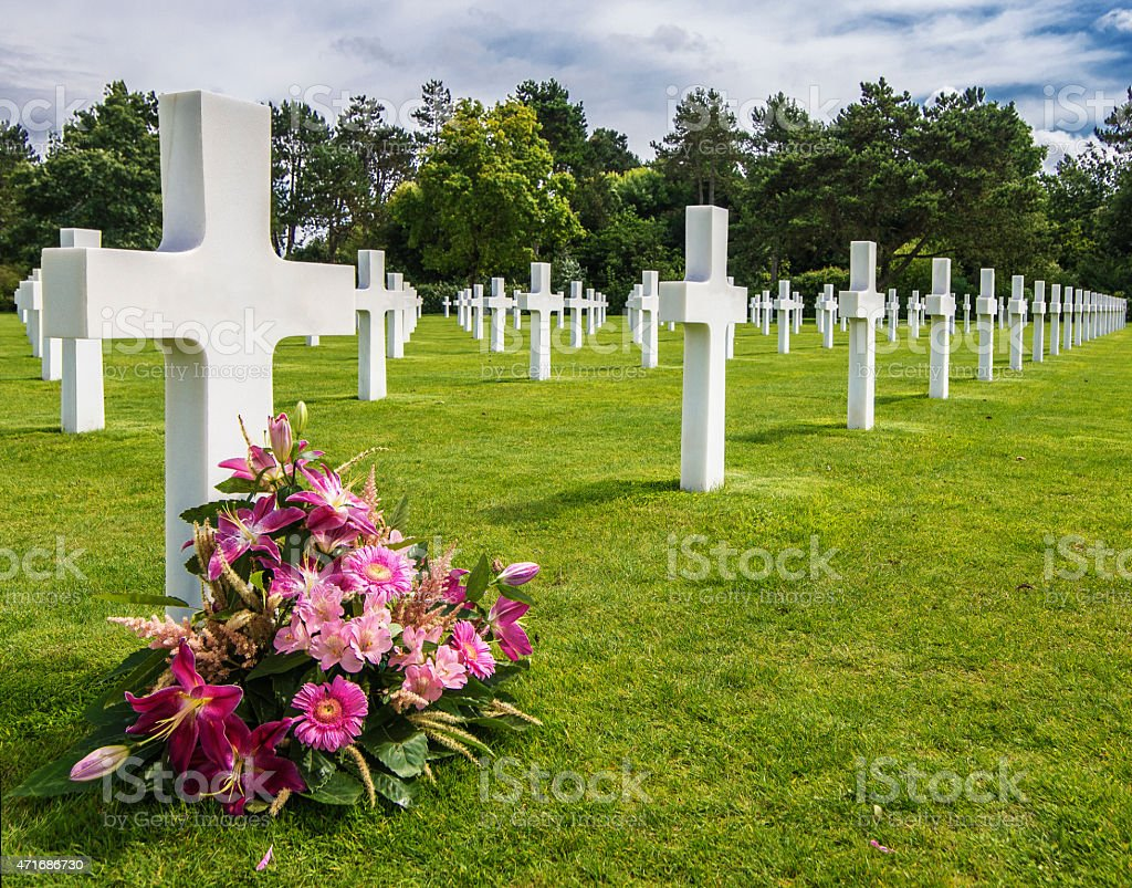 Normandy American Military Cemetery and Memorial, Colleville Sur Mer, Francia stock photo