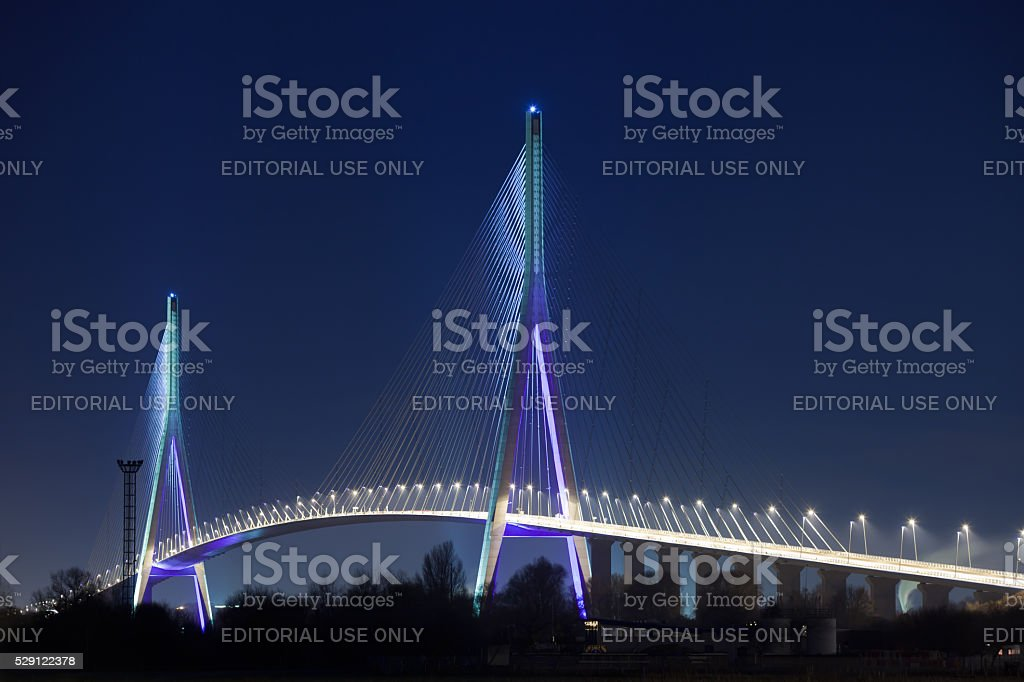 Normandy bridge (Pont de Normandie, France) at night stock photo