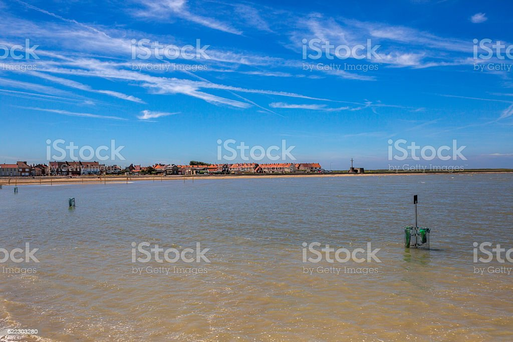 normandy coast during tide near calais france stock photo
