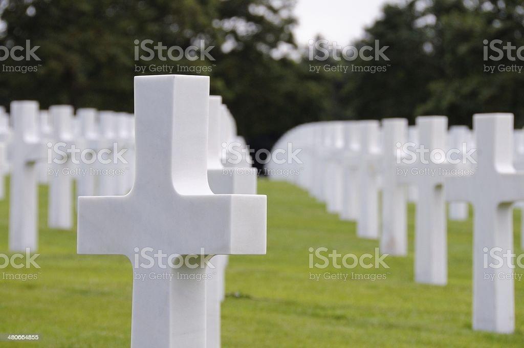 Normandy graveyard memorial france royalty-free stock photo
