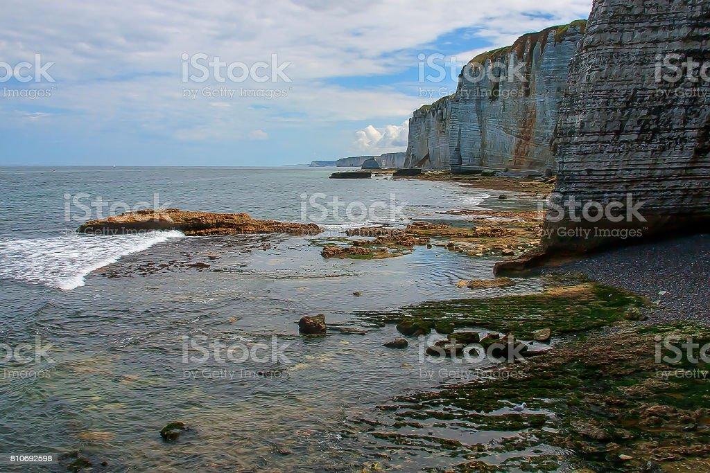 Normandy limestone cliffs stock photo