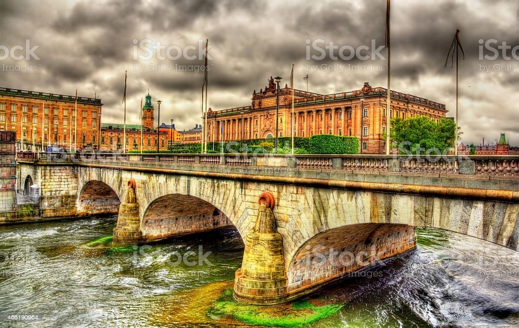 Norrbro bridge and Parliament in Stockholm, Sweden stock photo