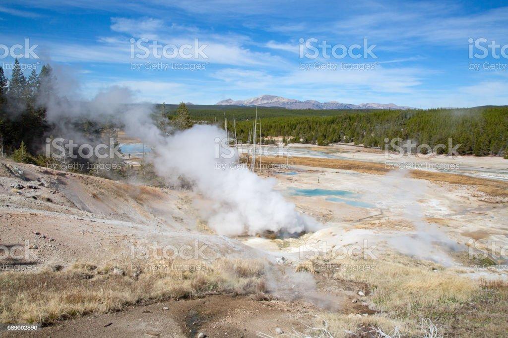 Norris geyser basin stock photo
