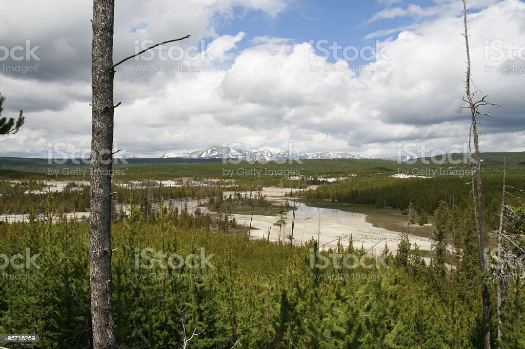 Norris Geysers and Mountains stock photo