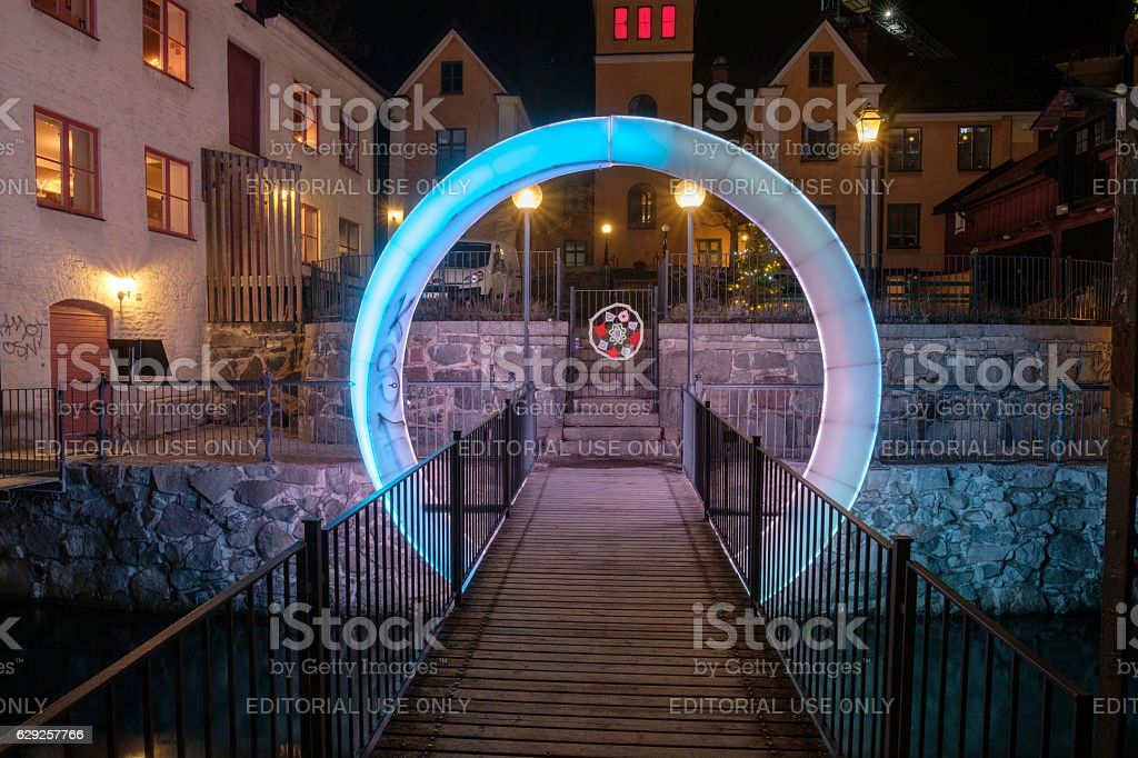 Norrkoping light festival, Sweden stock photo