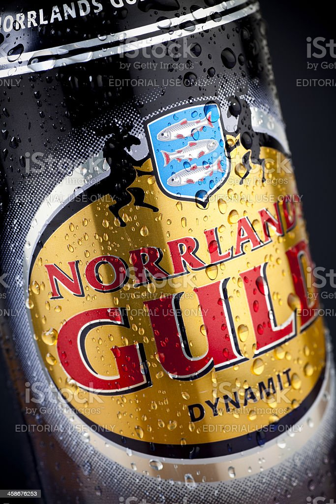 Norrlands Guld beer closeup stock photo