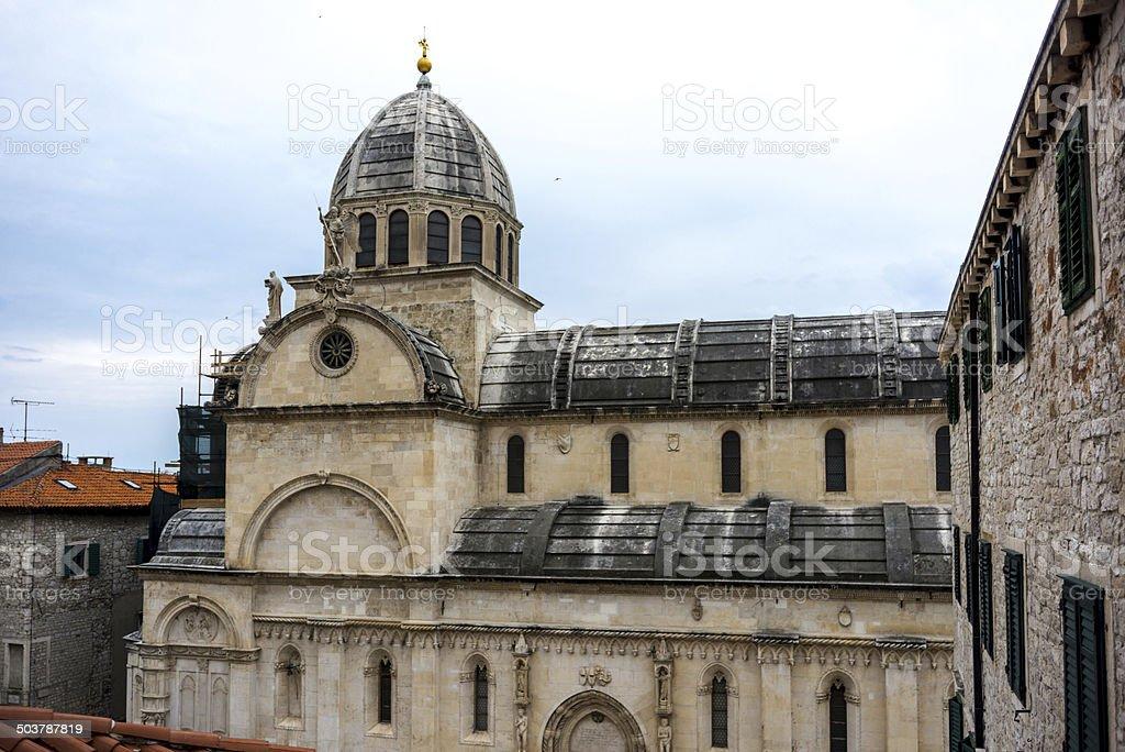 Nort fascade of Cathedral St James, Sibenik, Croatia stock photo