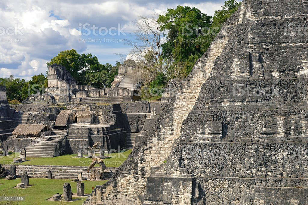 North Acropolis structures on the Grand Plaza of Tikal, Guatemala stock photo
