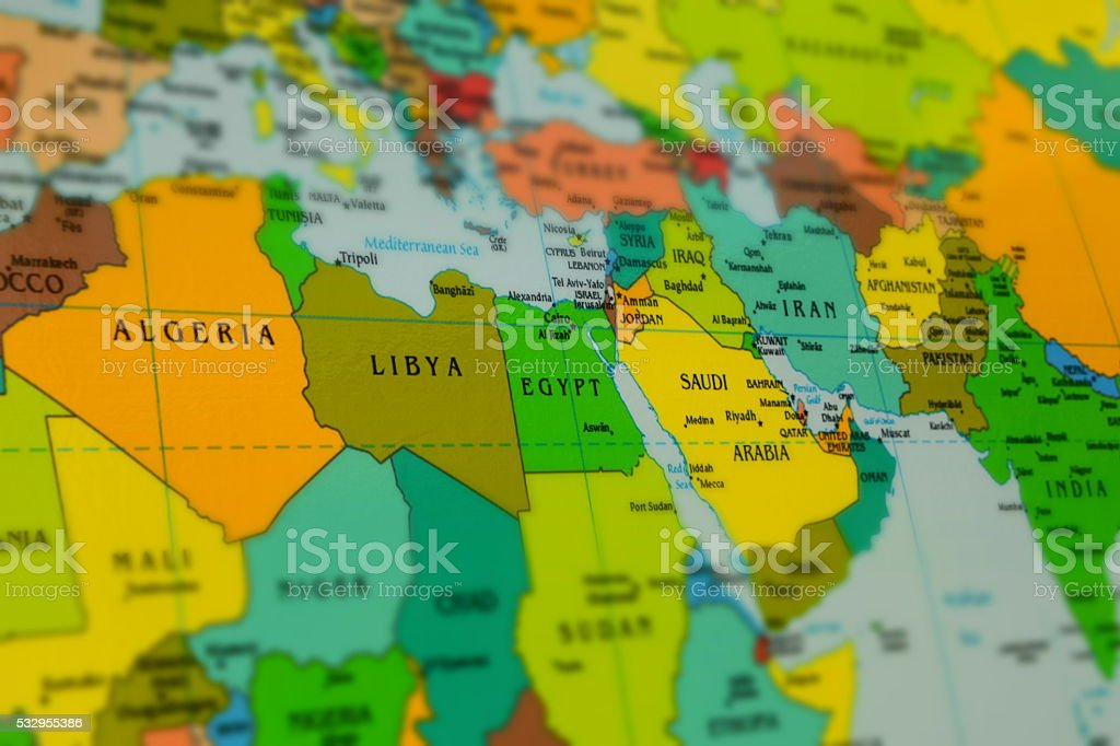 North Africa and Middle East map stock photo