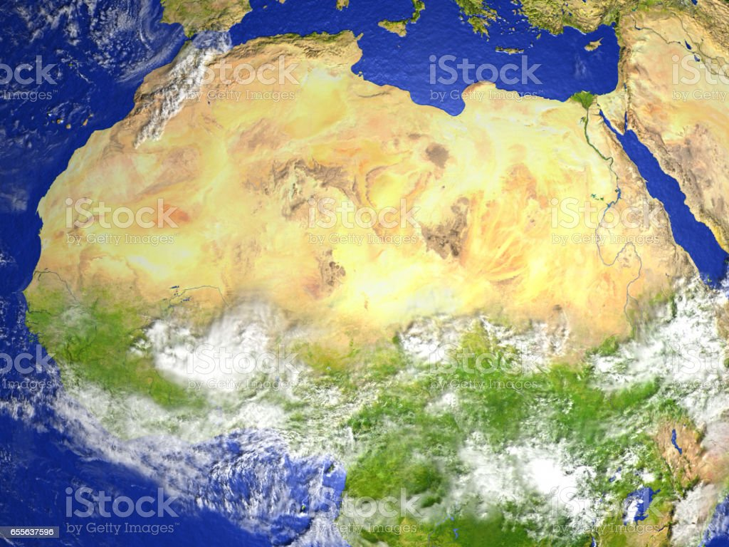 North Africa on realistic model of Earth vector art illustration