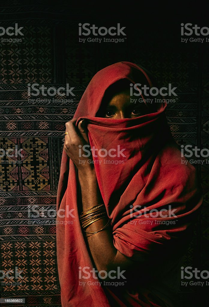 North African veiled woman stock photo