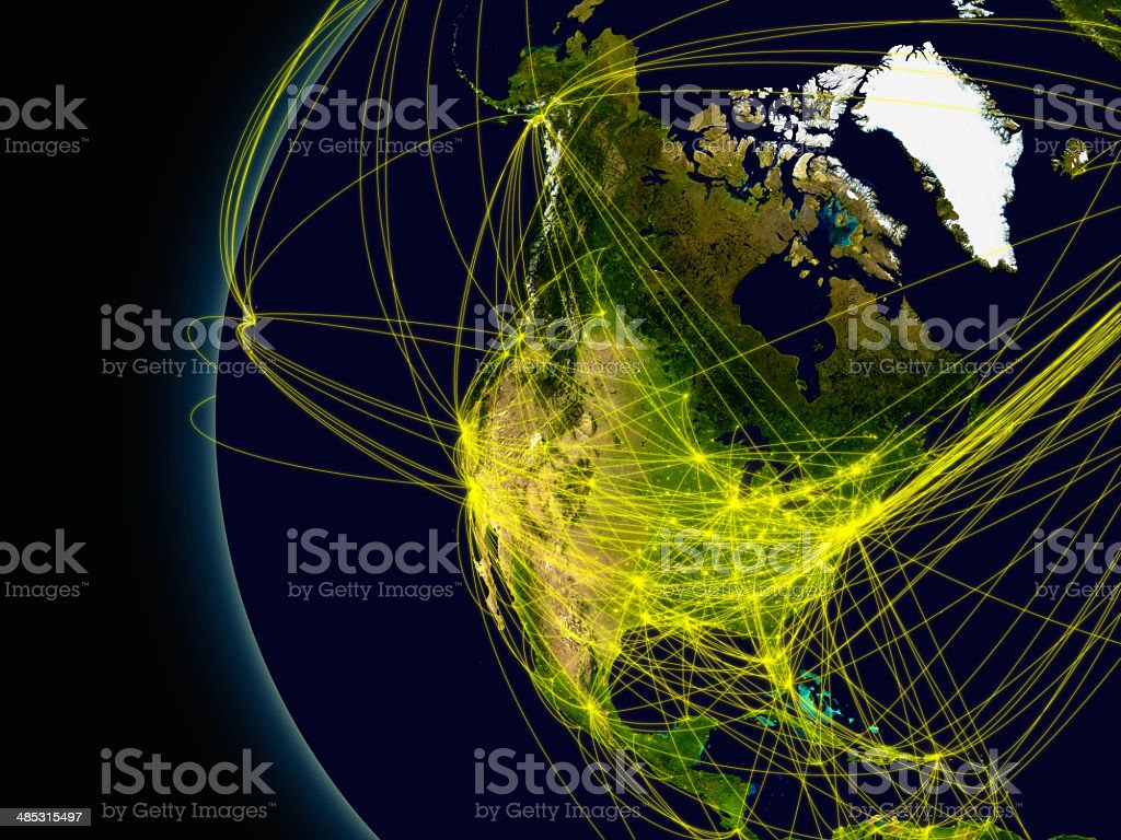 North America connections stock photo