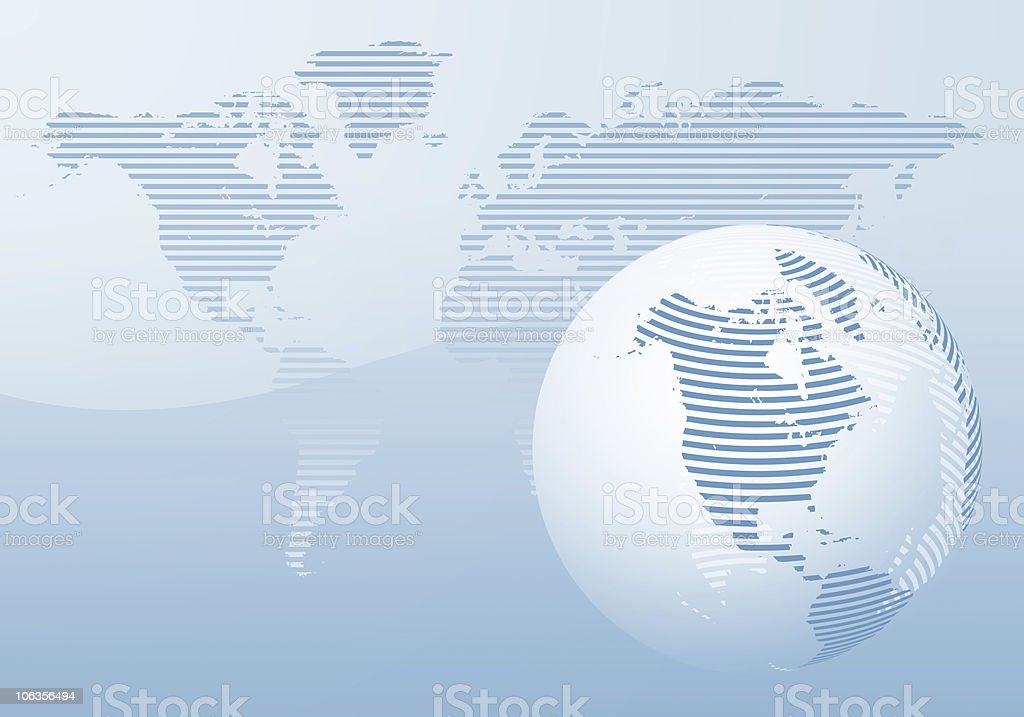 North America in Striped Blue Globe stock photo