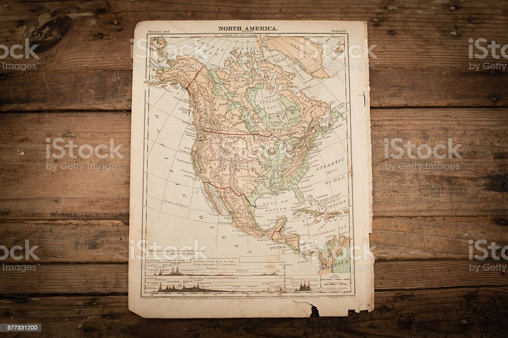 North America Map Illustration, Antique 1871 Book Page stock photo