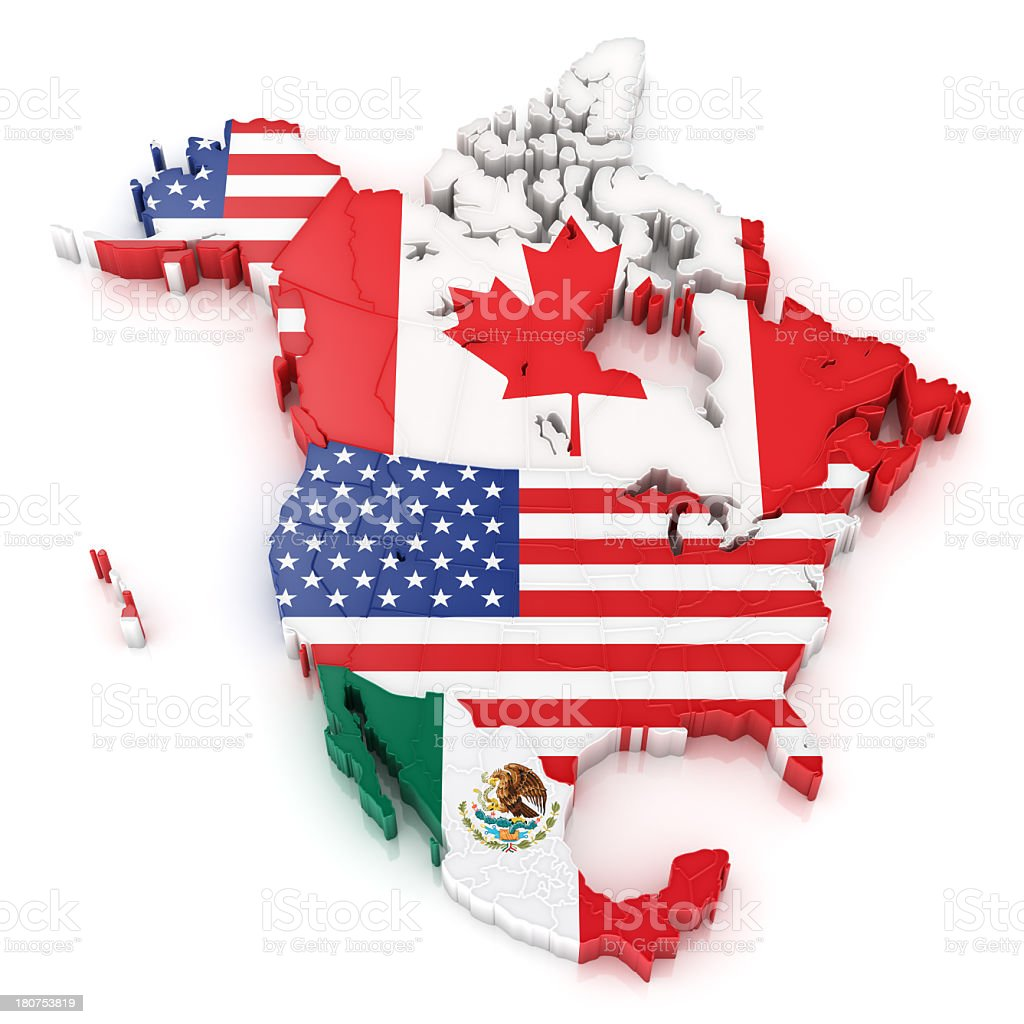 North America map with flags of USA Canada and Mexico stock photo