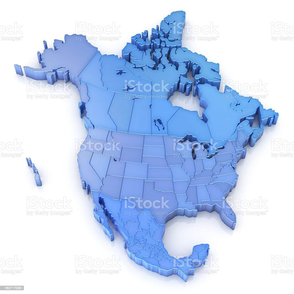 North America Map With Usa Canada And Mexico Stock Photo - Map of usa and canada with states and provinces