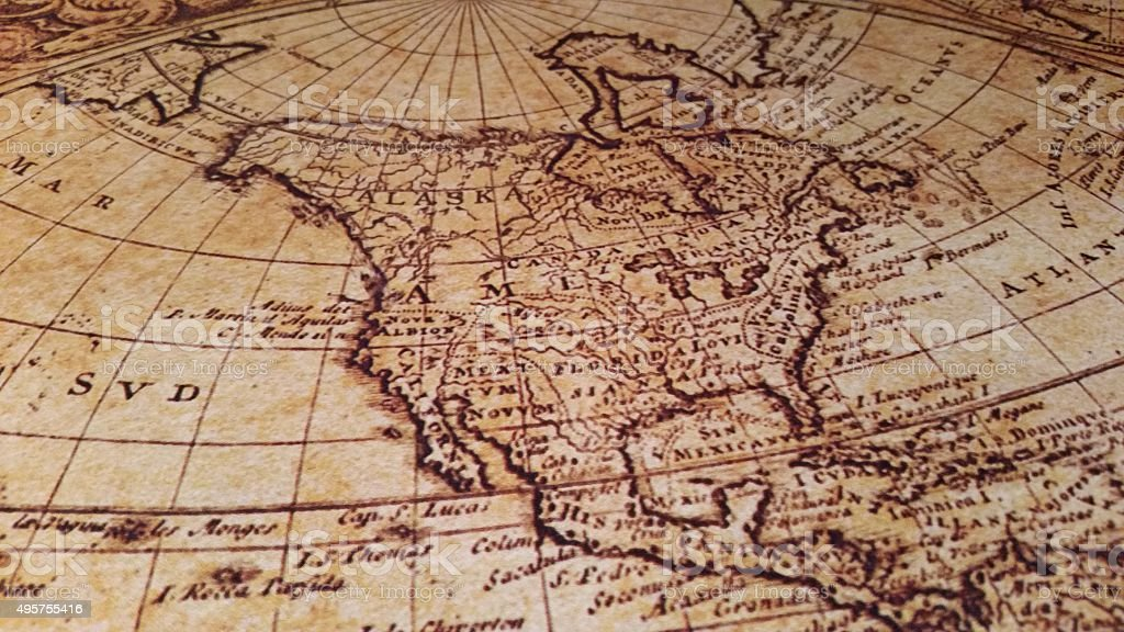 North America on Antique Map stock photo