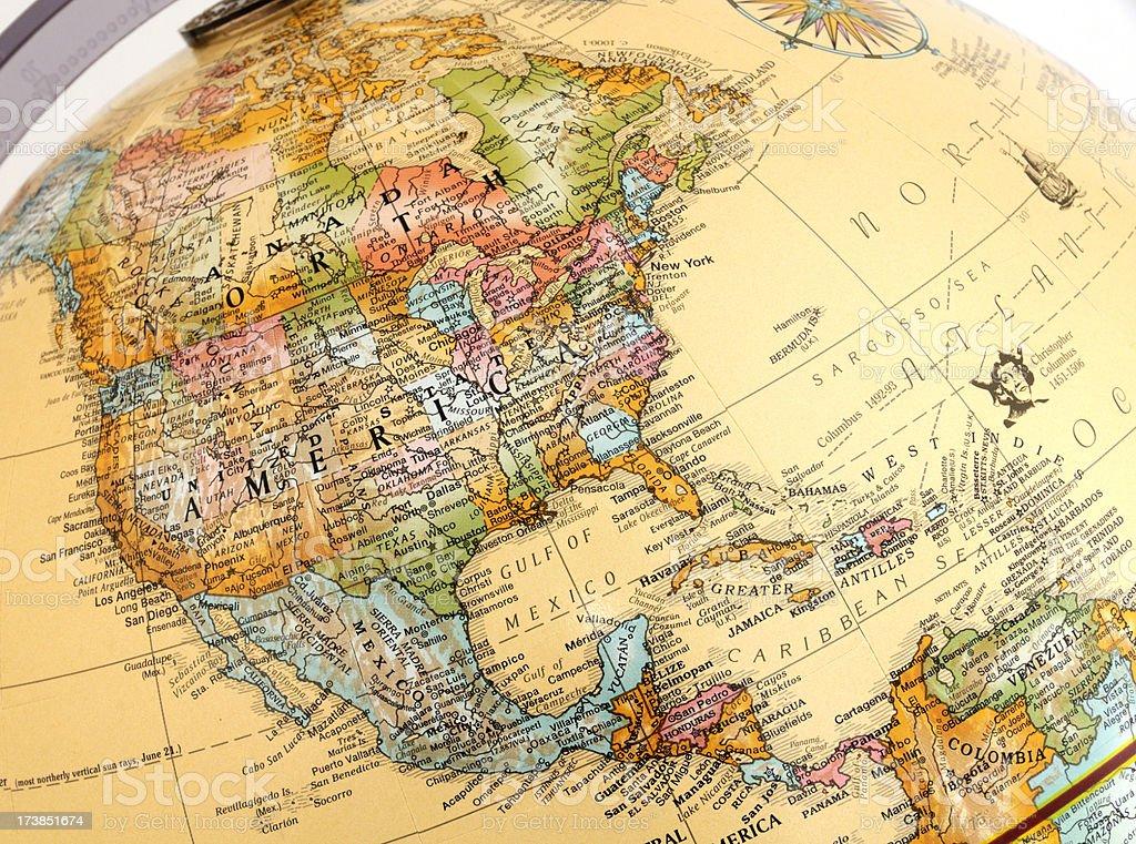 North America on Globe stock photo