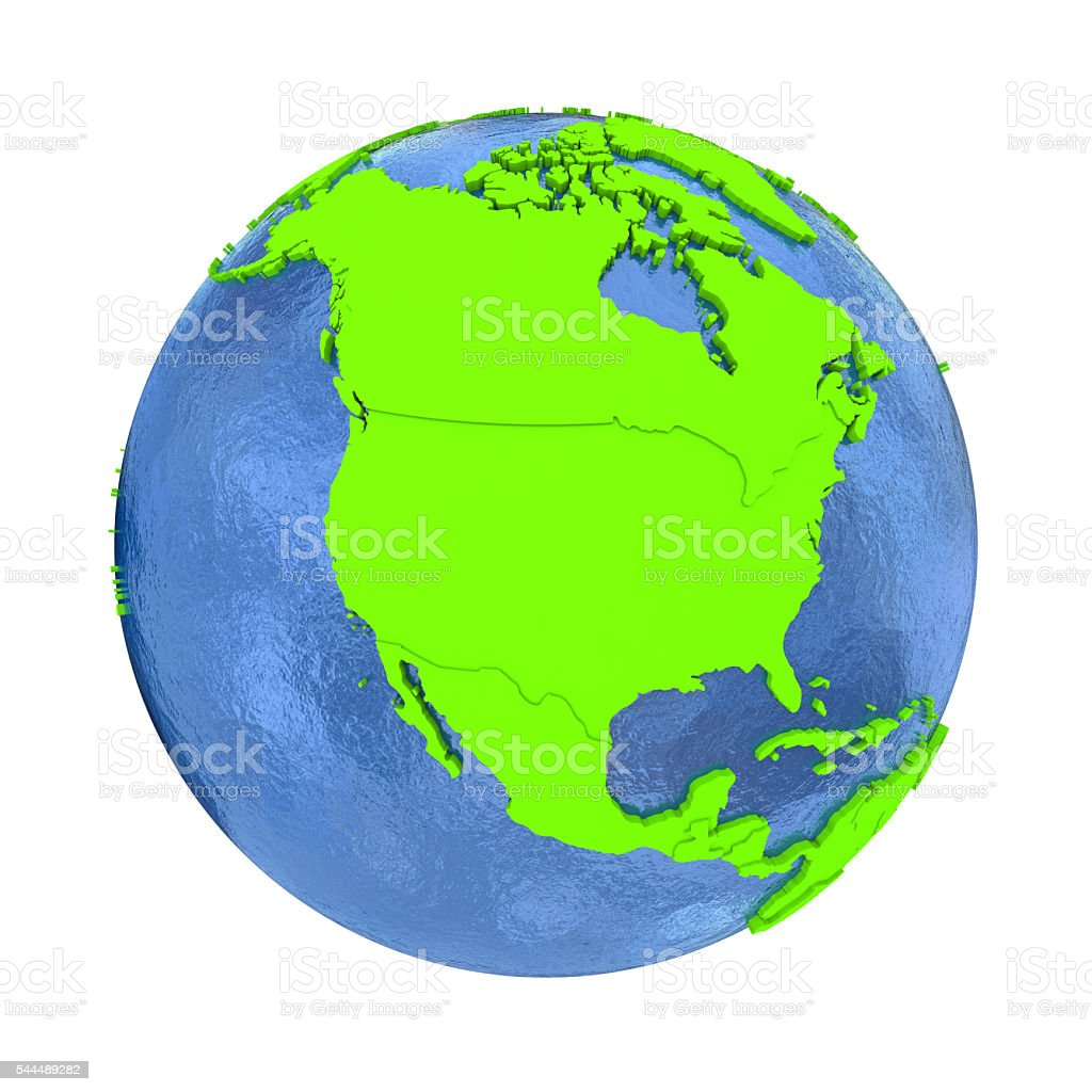 North America on green Earth stock photo