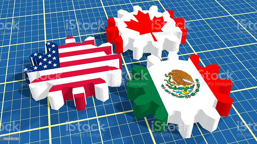 North American Free Trade Agreement members national flags stock photo