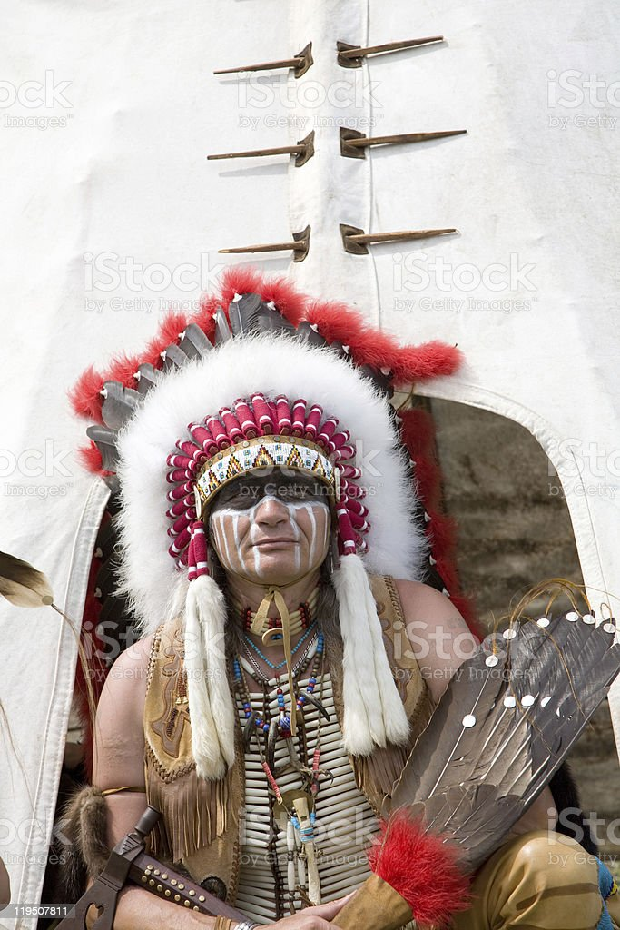 North American Indian in full dress. stock photo