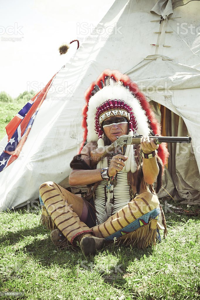 North American Indian in full dress stock photo