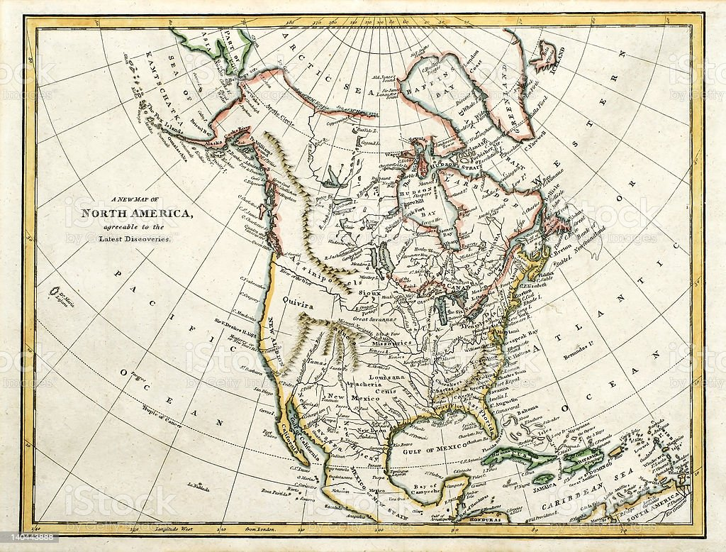 North American map dated 1791. stock photo