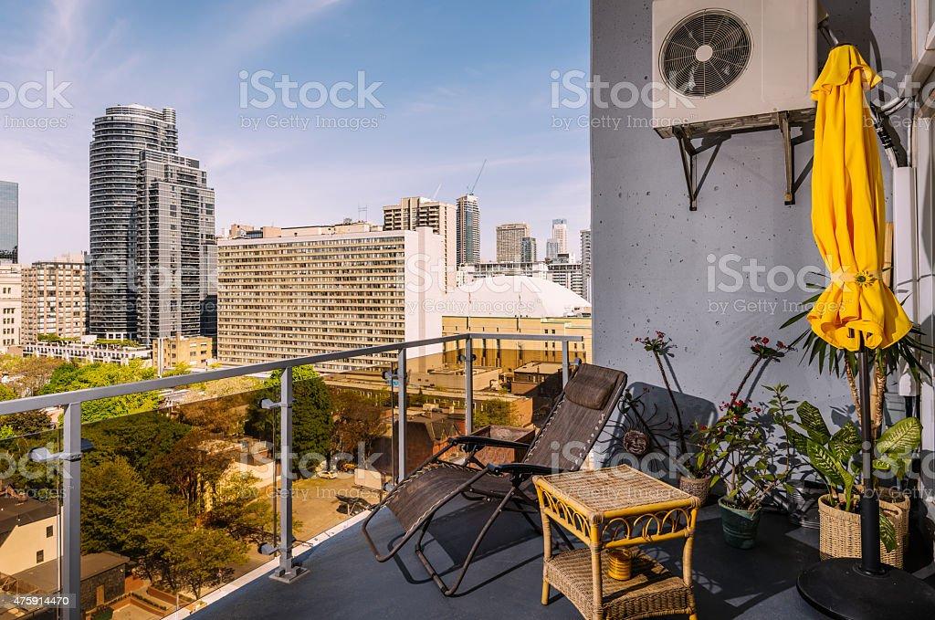 North American Rental Condo terrace stock photo