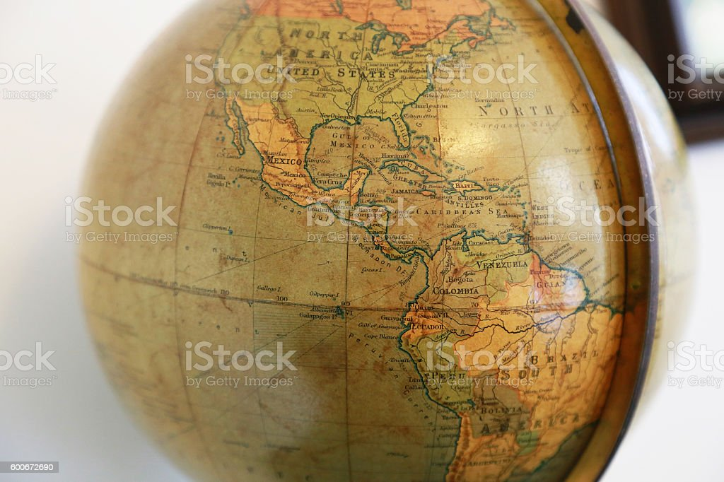 North and South America of the old terrestrial globe stock photo