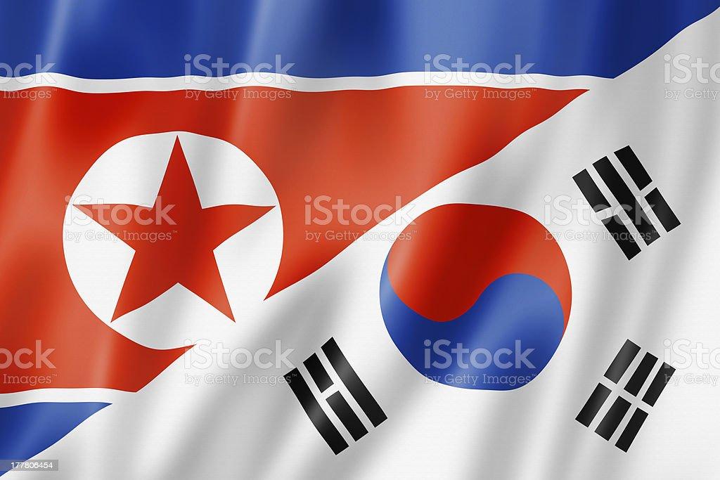 North and South Korea flag royalty-free stock photo