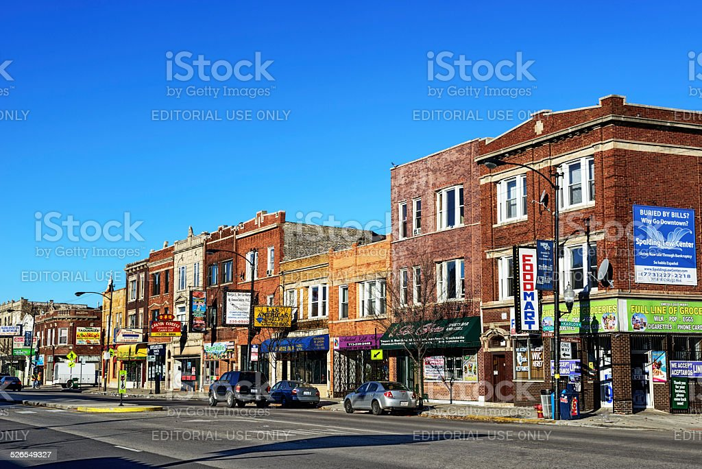 North Avenue Shops in Humboldt Park, Chicago stock photo