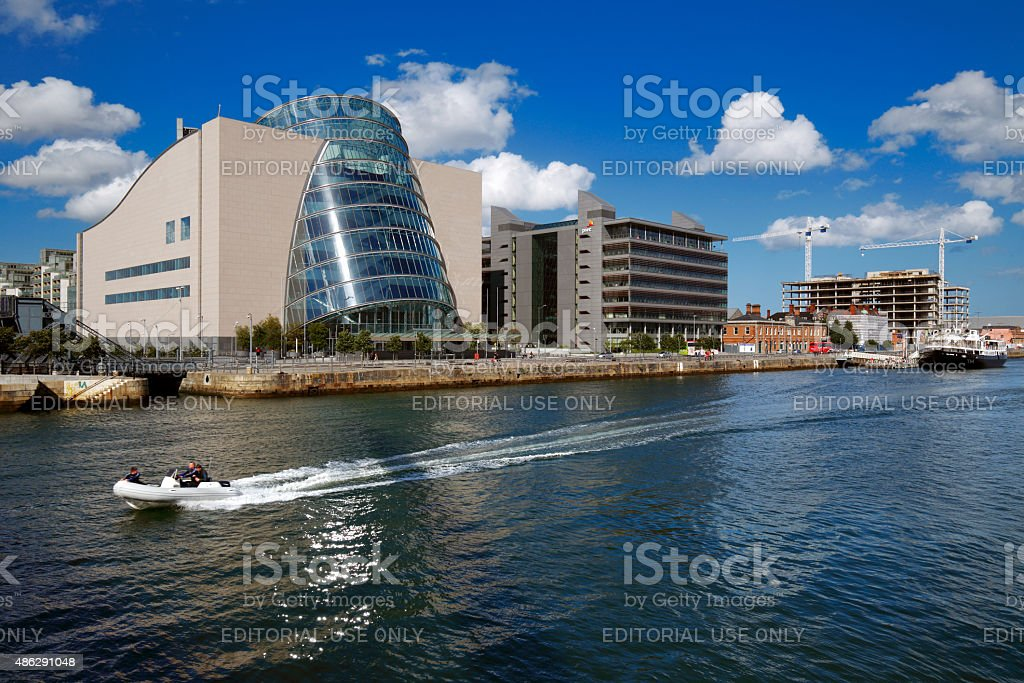 North bank of the river Liffey at Dublin City Center stock photo