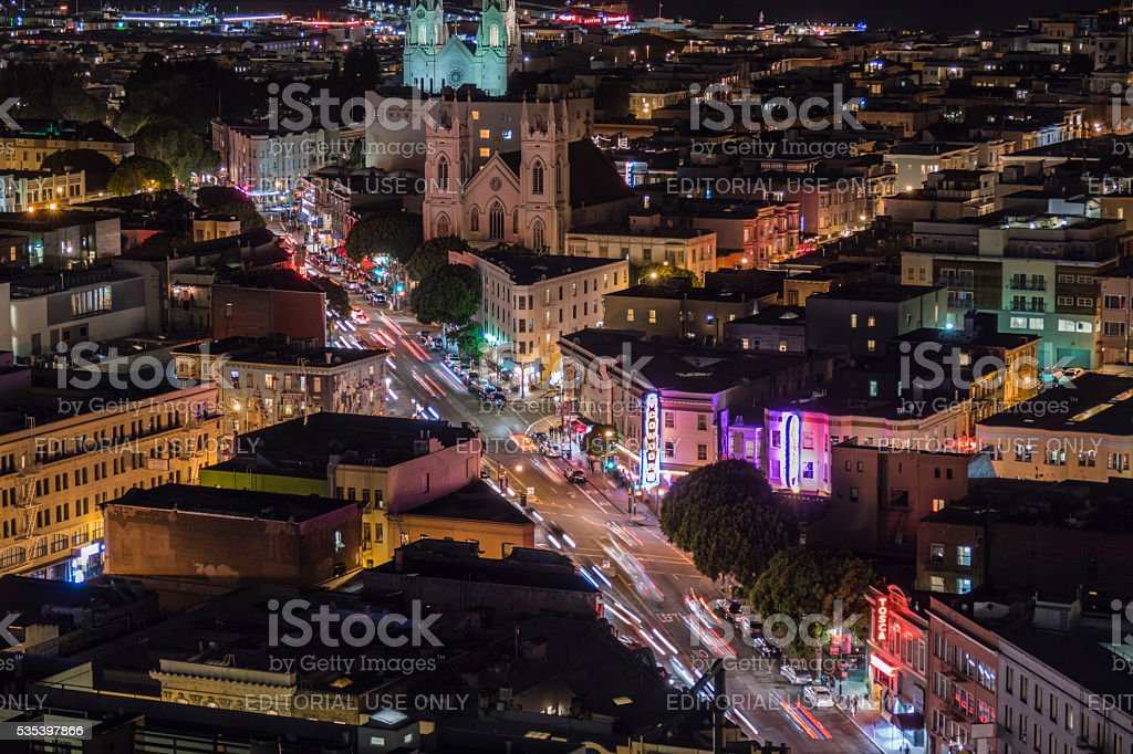 North Beach Neighborhood at Night in San Francisco stock photo