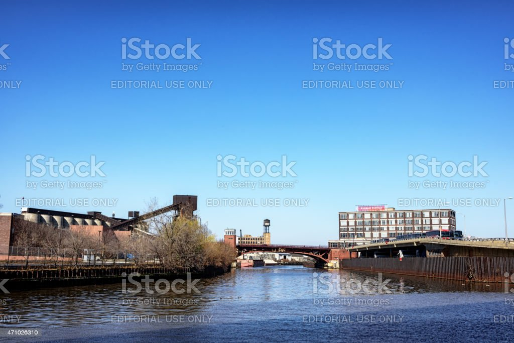 North Branch of the Chicago River at Goose Island stock photo