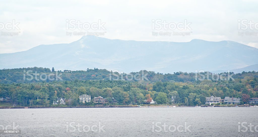 North Burlington shoreline with Mount Mansfield stock photo