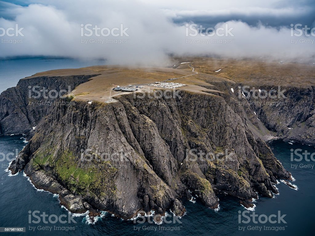 North Cape (Nordkapp) aerial photography, stock photo