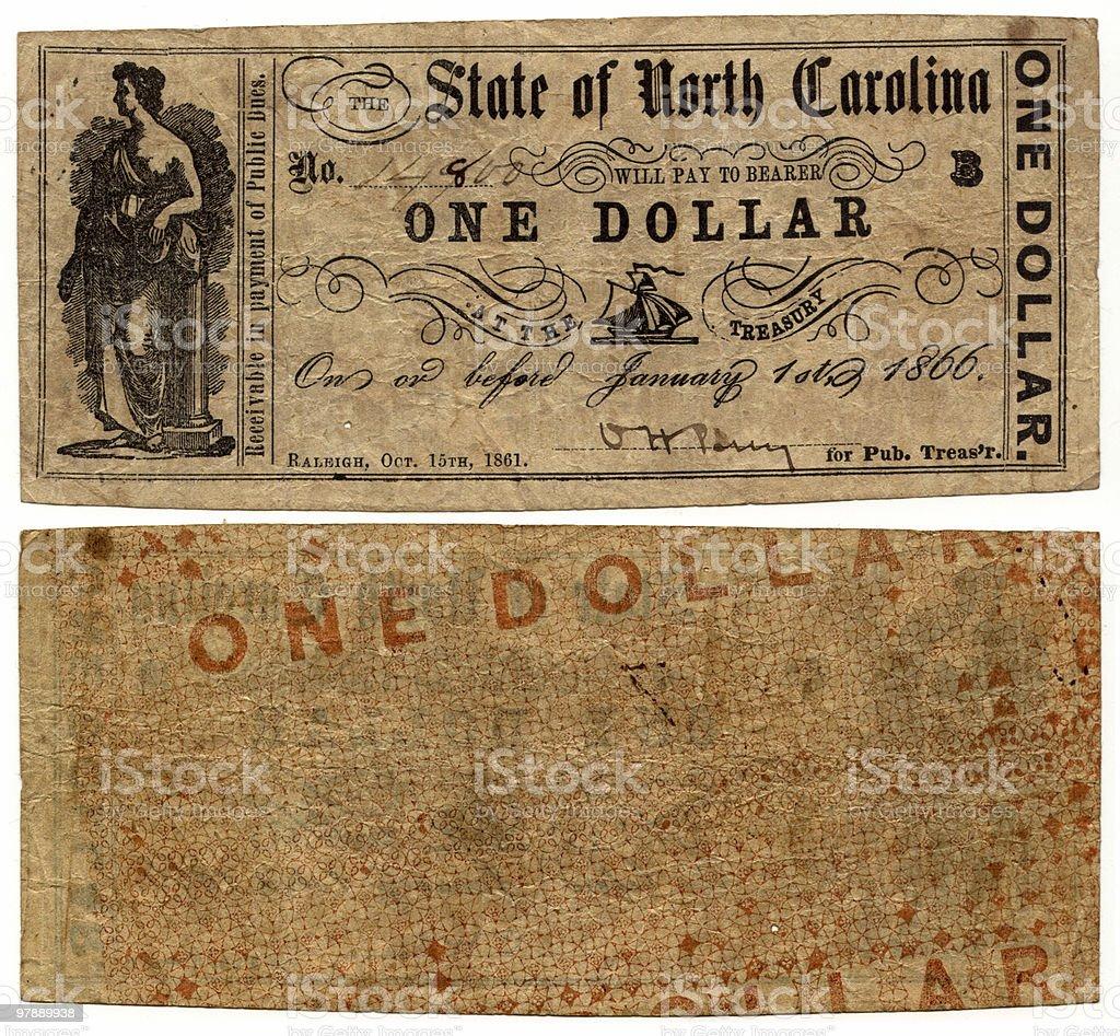 $1 North Carolina Error Note royalty-free stock photo