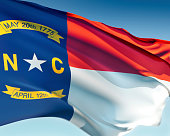 North Carolina flag flying in the wind