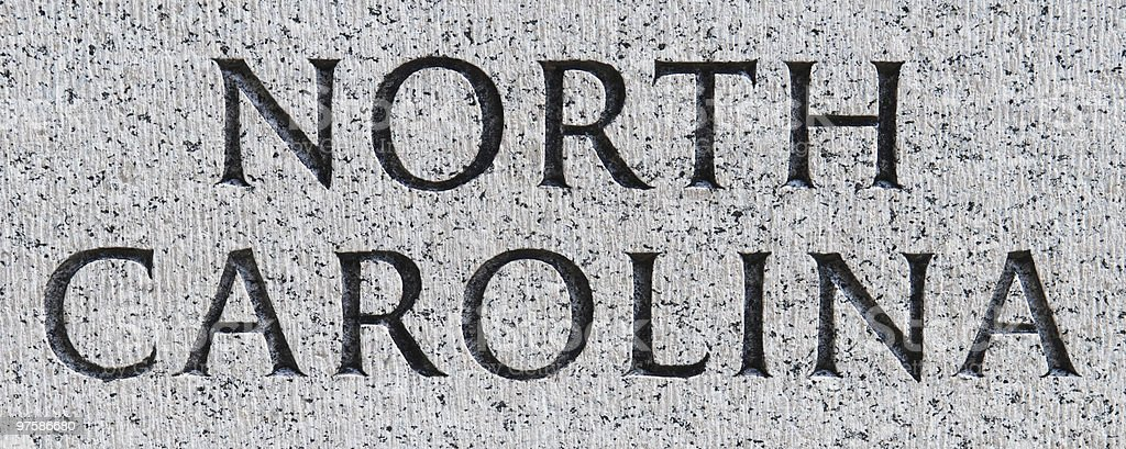 North Carolina inscribed in marble royalty-free stock photo