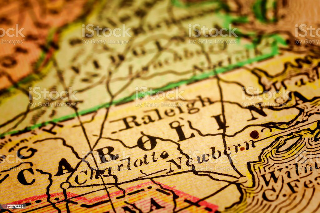 North Carolina State on an Antique map stock photo