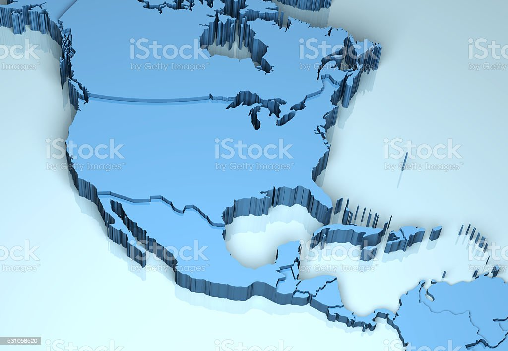 North Central America 3D stock photo