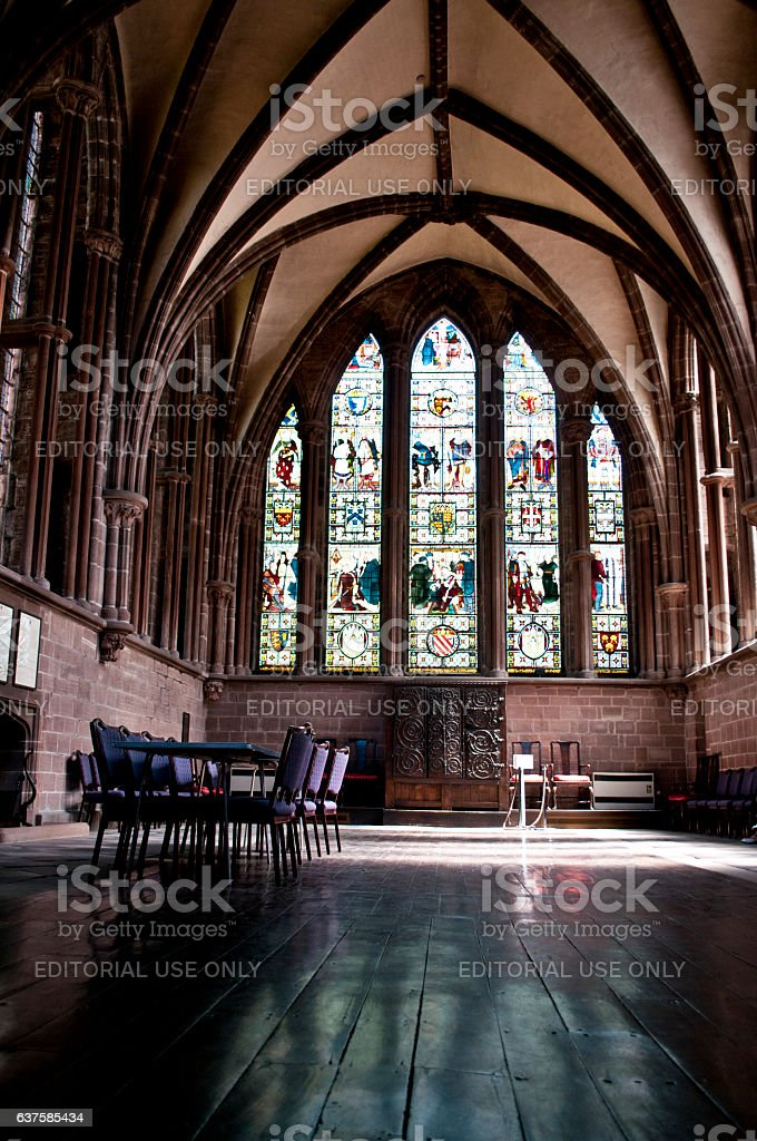 North choir aisle, Chester Cathedral, Chester, UK stock photo